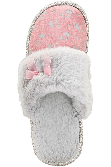 Fur Trim Closed Toe Mule