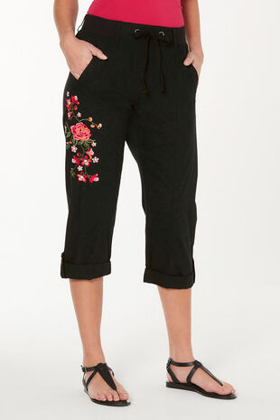 Embroidered Cotton Cropped Trousers