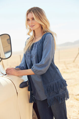 Tassel Detail Embroidered Blouse