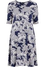 Floral Tile Print Swing Dress