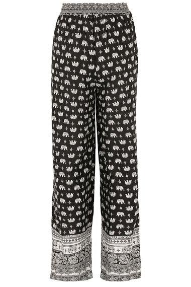 Izabel Elephant Print Wide Leg Trousers