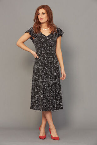 Frill Sleeve Spot Dress