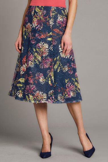Textured Printed A Line Skirt