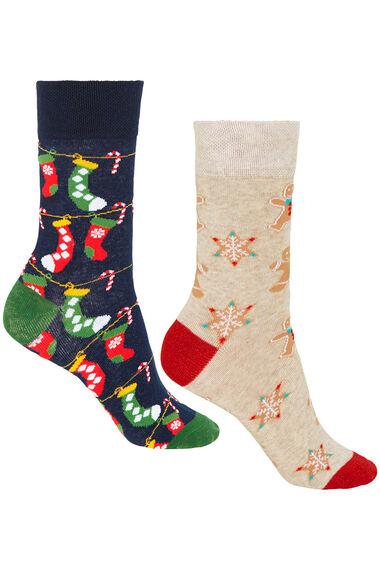 2 Pack Gingerbread & Stocking Christmas Sock