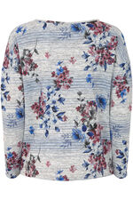 Floral & Stripe Printed Crew Neck Sweater