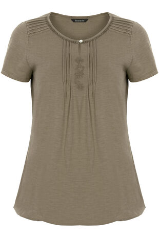 Pintuck Embroidered T-Shirt