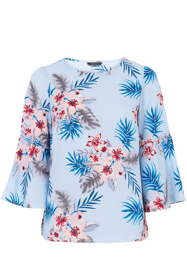 Floral Print 3/4 Length Frill Sleeve Top