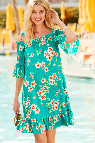 Floral Print Bardot Beach Dress