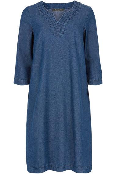 Notch Neck Denim Dress