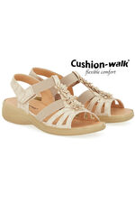 Cushion Walk Snake Effect Touch Fasten 3D Floral Sandal