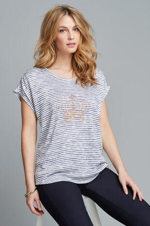Stripe with Crown Diamantes T-Shirt