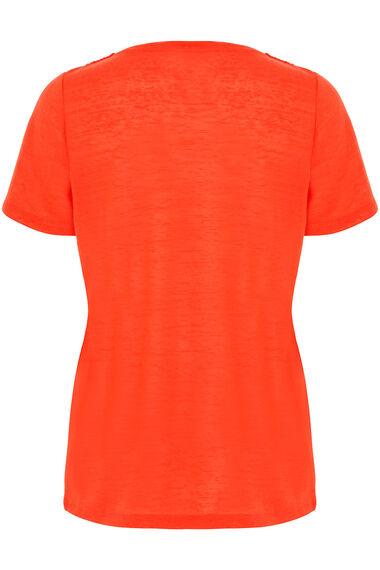 Crochet Neckline Linen Look T-Shirt