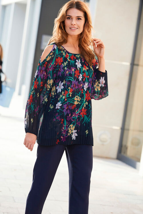 Floral Print Pleated Cold Shoulder Top
