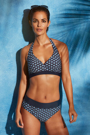 Tile Print Roll-Top Tummy Control Swim Briefs