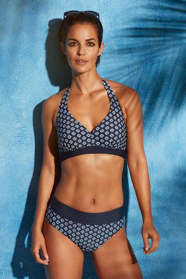 Tile Print Roll-Top Tummy Control Swim Briefs