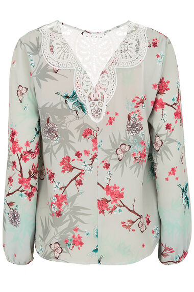Oriental Print Wrap Top with Lace Back