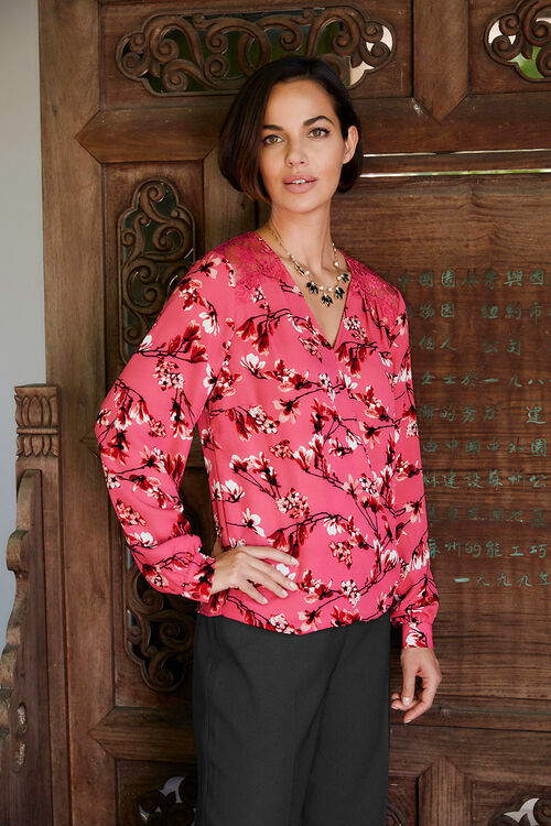 Printed Wrap Top With Lace Insert Back