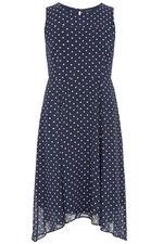 Spot Print Hanky Hem Dress
