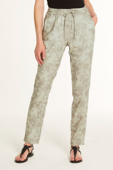 Bali Print Linen Blend Tapered Trousers