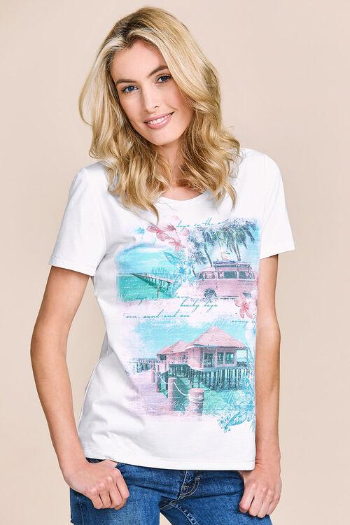 Beach Scene Print T-Shirt