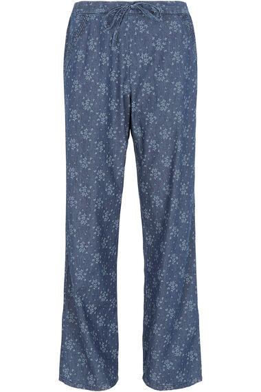 Printed Chambray Wide Leg Trousers