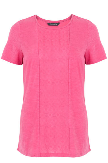 Embroided Panel Scoop T-Shirt