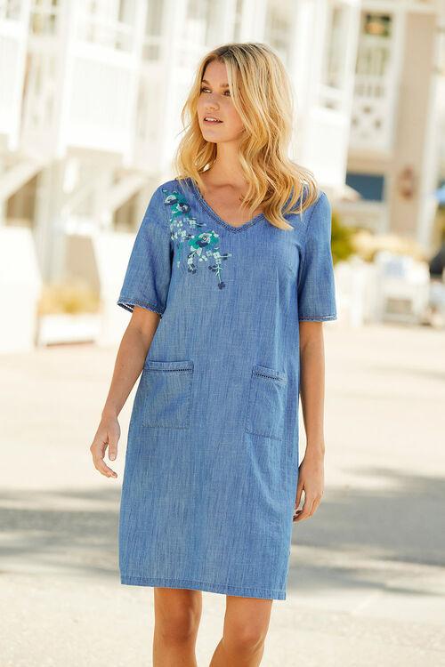 Embroidered Denim Tunic Dress