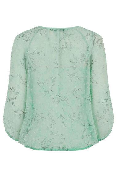 Blossom Print Textured Spot Blouse