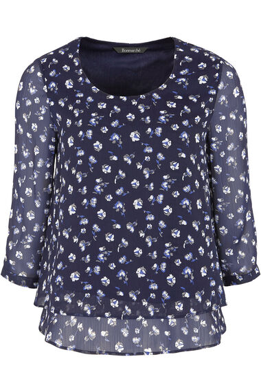 Short Sleeve Print Double Layer Blouse