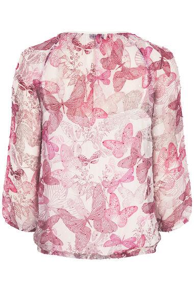 Butterfly Print Textured Spot Blouse