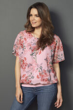 Floral Print Blouson with Necklace