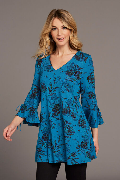 Teal Floral Silhouette Print Tunic