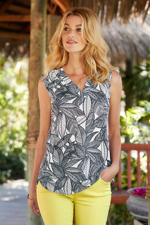 Printed Sleeveless V Neck Top