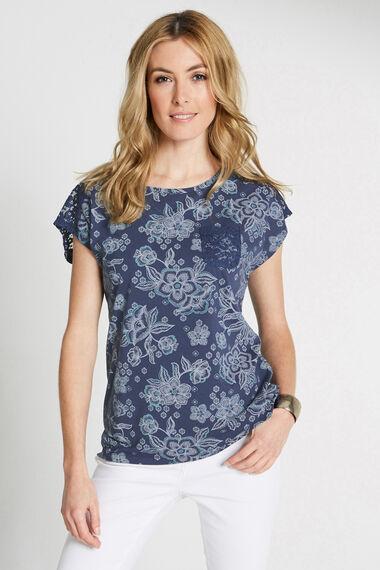 Floral Print Lace Trim T-Shirt