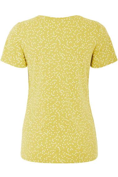 Notch Neck Spot Print T-Shirt