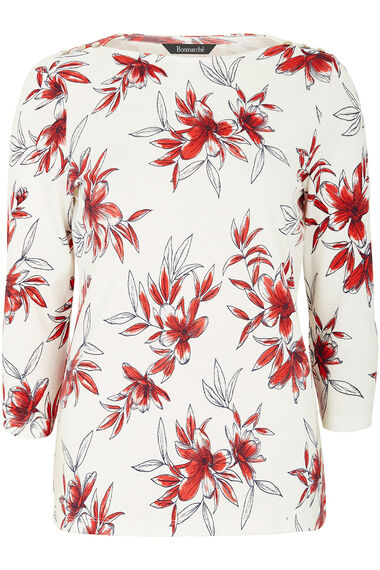 Boat Neck Floral Print T-Shirt