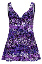 Purple Animal Print Swim Dress