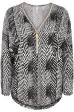 Stella Morgan Herringbone Print with Zip Soft Touch Sweater