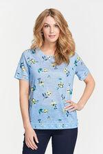 Floral Print Lace Hem Detail T-Shirt