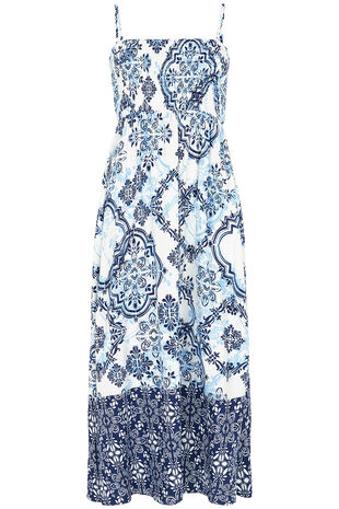 Tile Print Shirred Maxi Dress