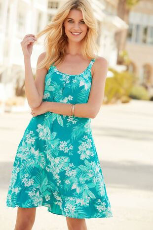 Tropical Print Beach Dress with Frill Hem