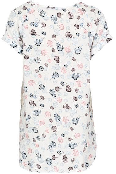 Short Sleeve Woven Oriental Print Top