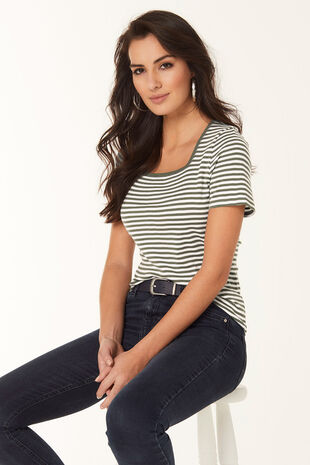 Stripe Square Neck T-Shirt