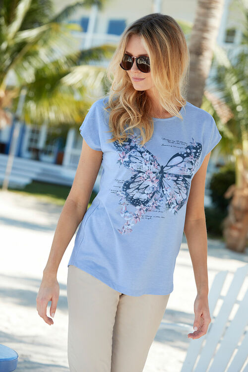 Butterfly Placement Print T-Shirt