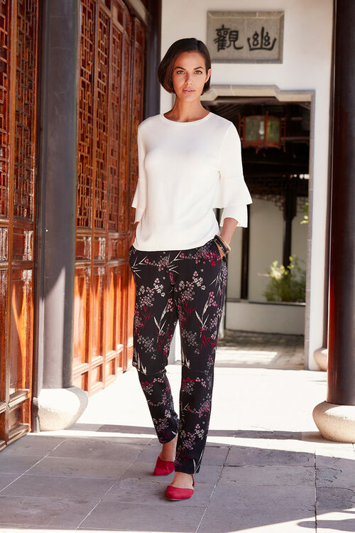 Textured Printed Tapered Trousers