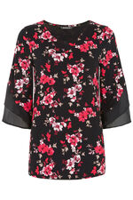 Floral Printed Top With Chiffon Sleeves