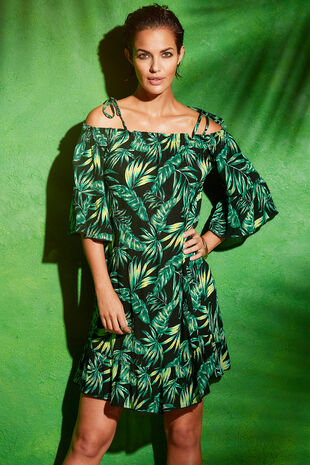 Leaf Print Bardot Beach Dress