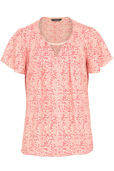 Leaf Print Short Sleeve Blouse With Metal Trim