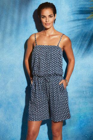 Pure Cotton Tile Print Jersey Playsuit