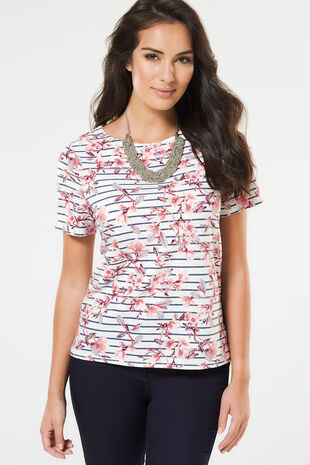 Blossom & Stripe Printed Texture Top
